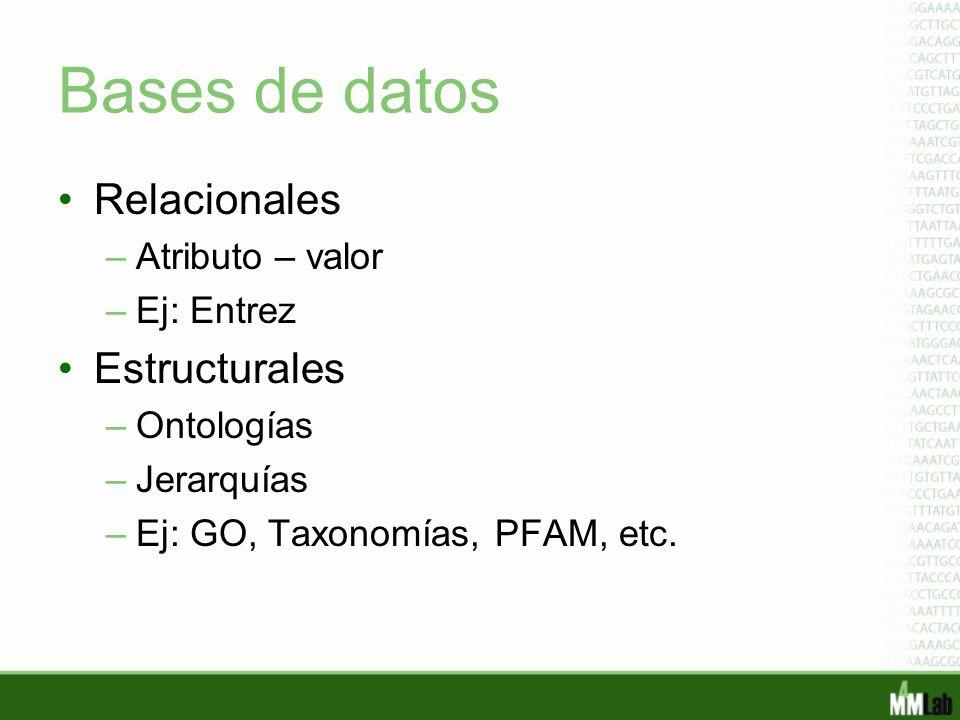 Bases de datos Relacionales Estructurales Atributo – valor Ej: Entrez