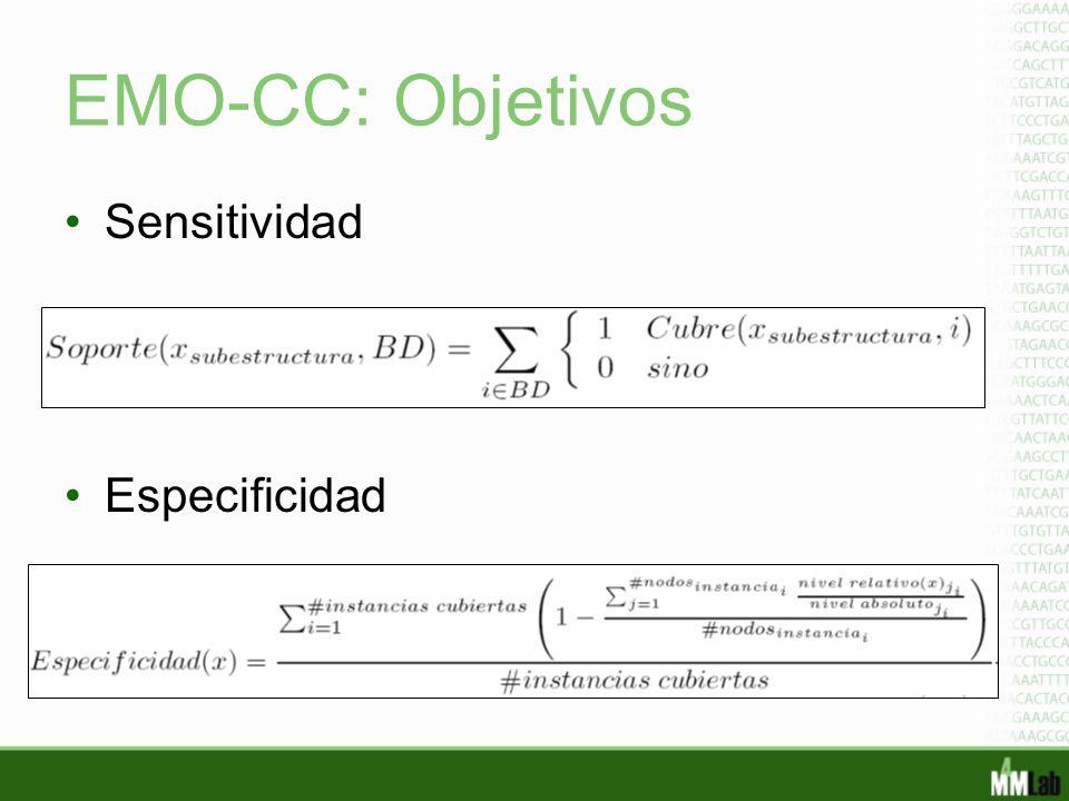 EMO-CC: Objetivos Sensitividad Especificidad