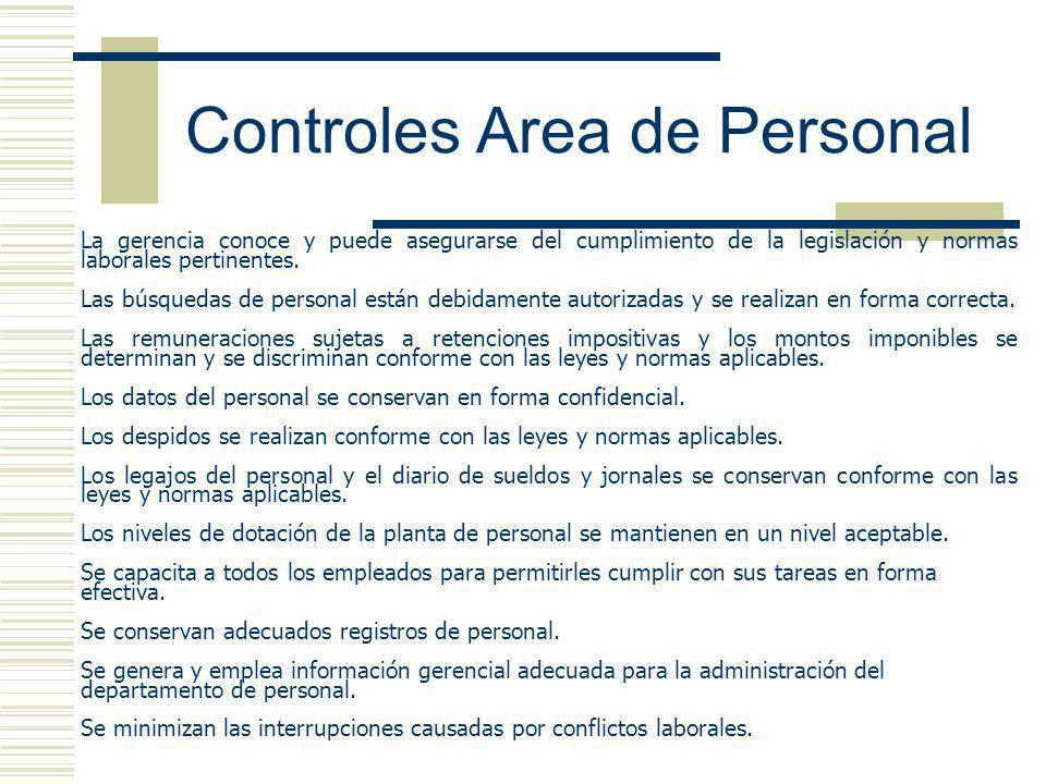 Controles Area de Personal