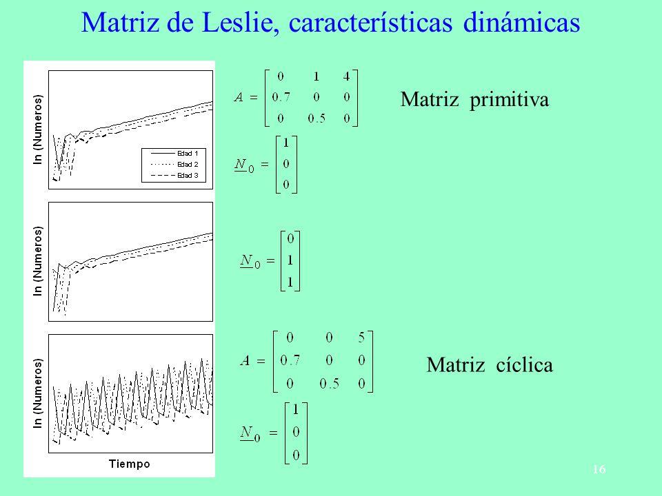 Matriz de Leslie, características dinámicas