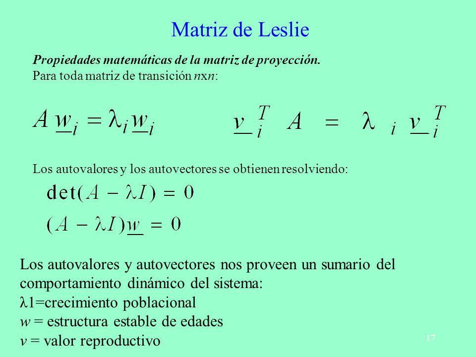 Matriz de Leslie Propiedades matemáticas de la matriz de proyección. Para toda matriz de transición nxn: