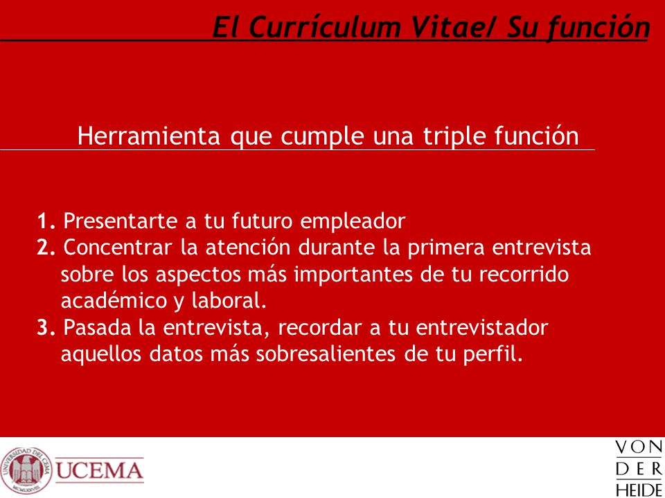 El Currículum Vitae/ Su función