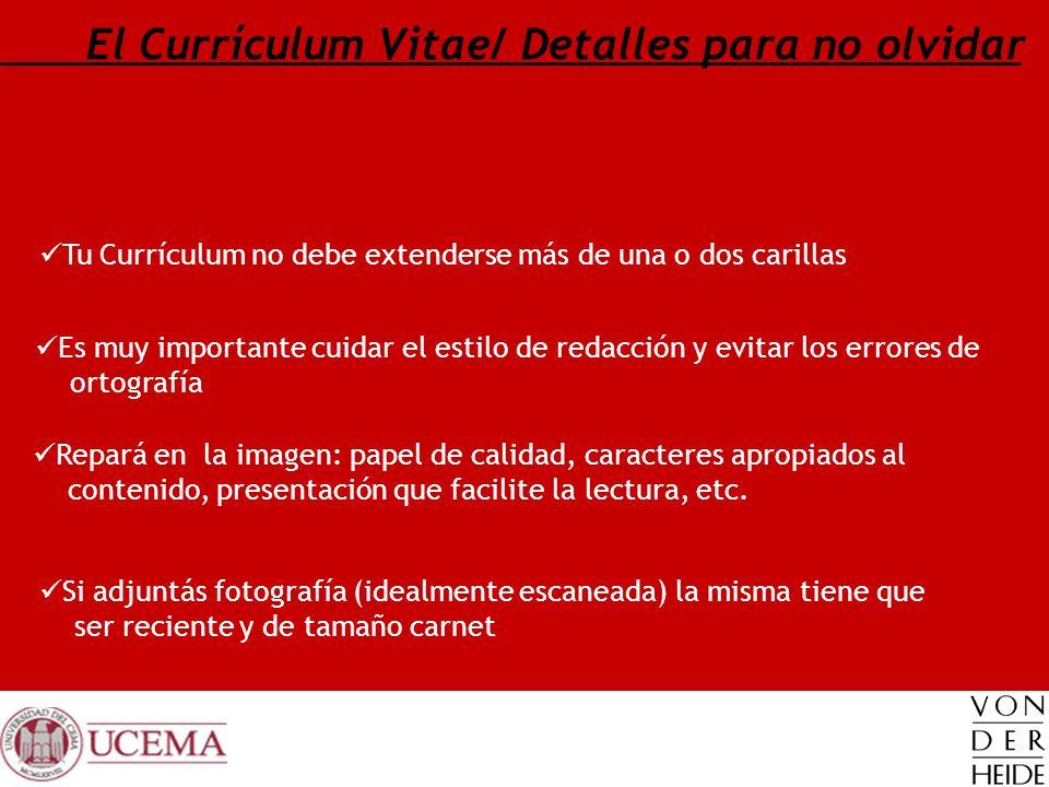 El Currículum Vitae/ Detalles para no olvidar