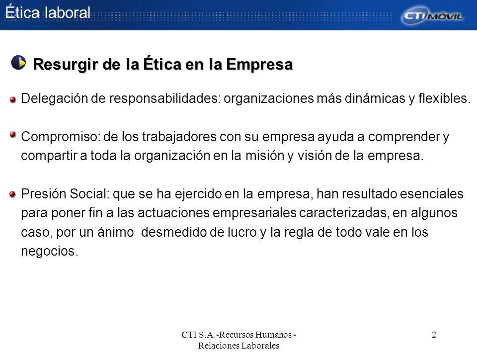 CTI S.A.-Recursos Humanos - Relaciones Laborales