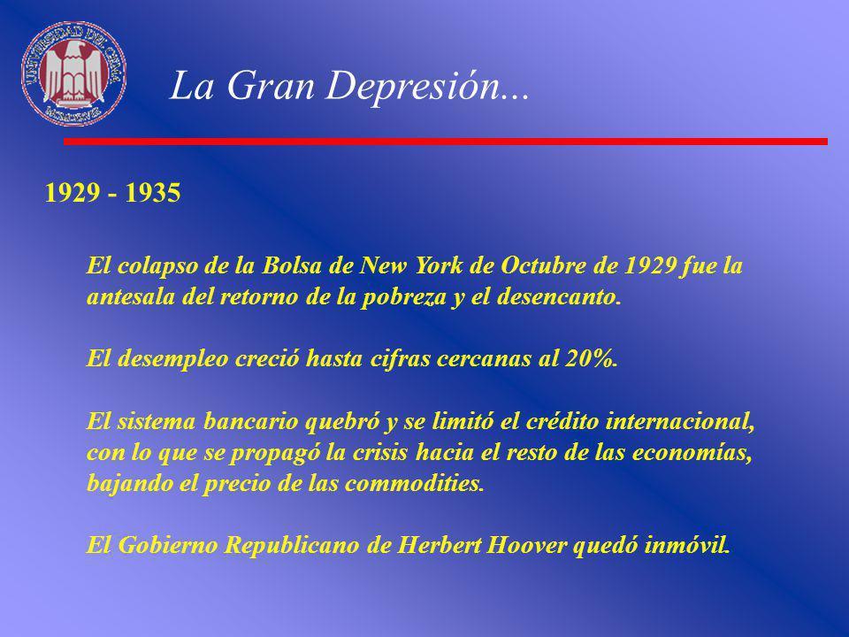 La Gran Depresión... 1929 - 1935. El colapso de la Bolsa de New York de Octubre de 1929 fue la antesala del retorno de la pobreza y el desencanto.