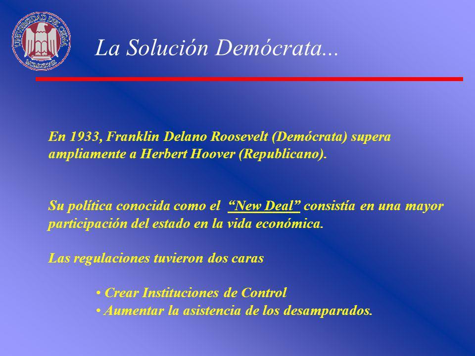 La Solución Demócrata... En 1933, Franklin Delano Roosevelt (Demócrata) supera ampliamente a Herbert Hoover (Republicano).