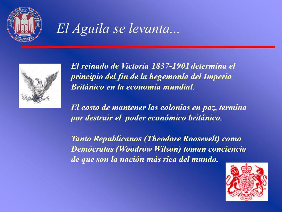 El Aguila se levanta... El reinado de Victoria 1837-1901 determina el principio del fin de la hegemonía del Imperio Británico en la economía mundial.