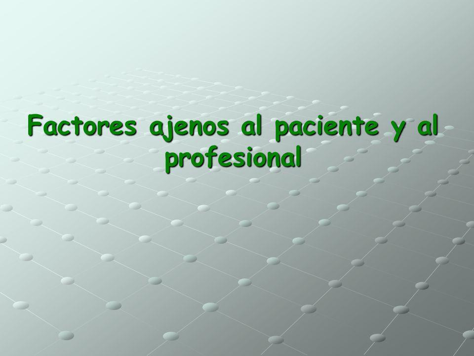 Factores ajenos al paciente y al profesional