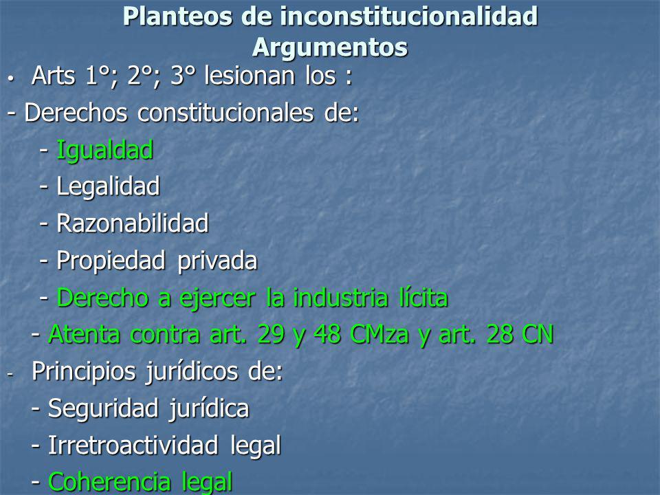 Planteos de inconstitucionalidad Argumentos