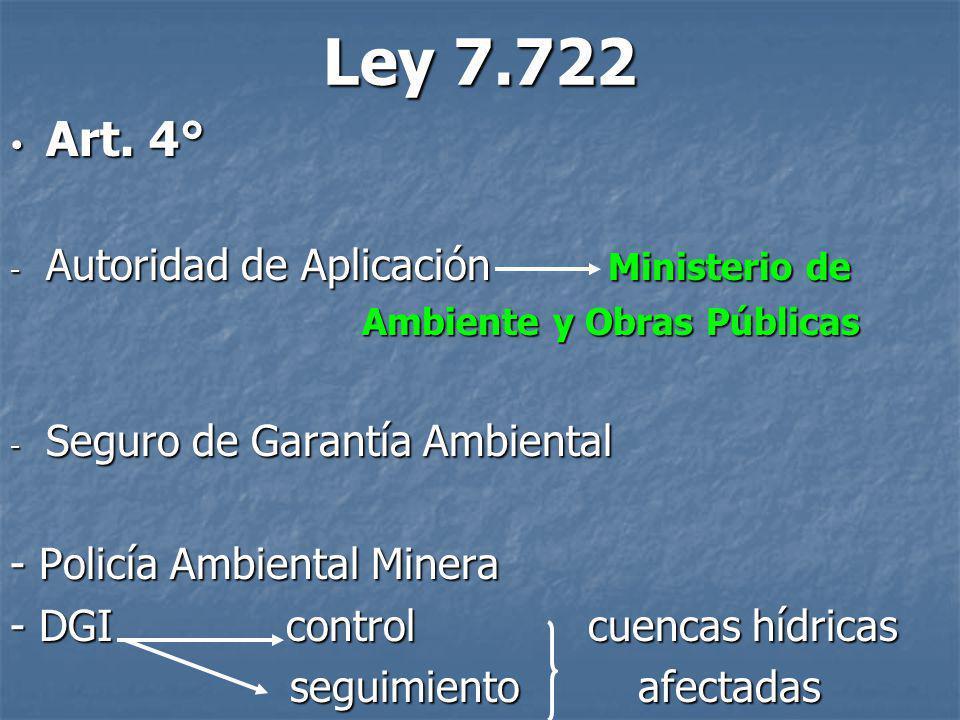 Ley 7.722 Art. 4° Autoridad de Aplicación Ministerio de