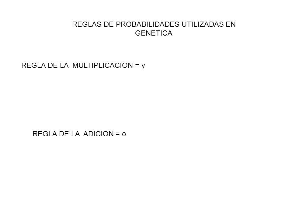 REGLAS DE PROBABILIDADES UTILIZADAS EN GENETICA