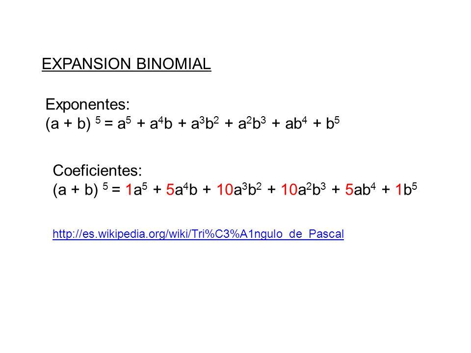 (a + b) 5 = a5 + a4b + a3b2 + a2b3 + ab4 + b5