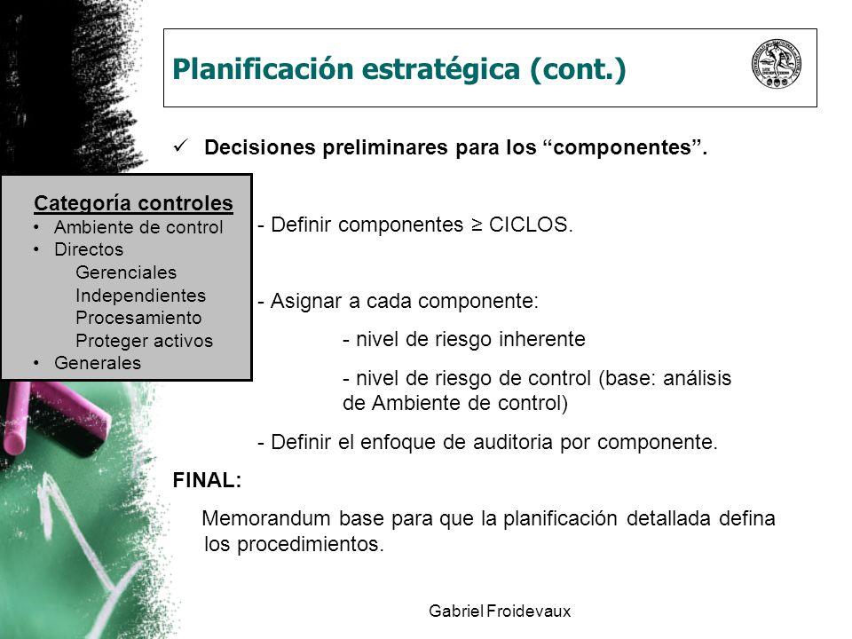 Planificación estratégica (cont.)