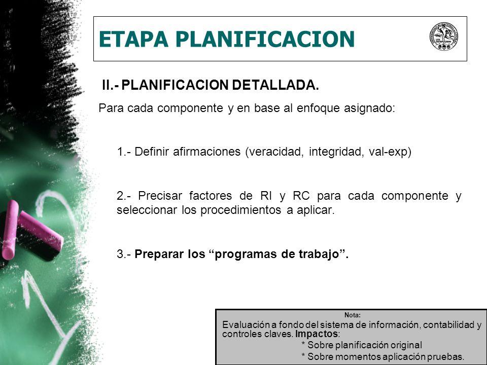 ETAPA PLANIFICACION II.- PLANIFICACION DETALLADA.