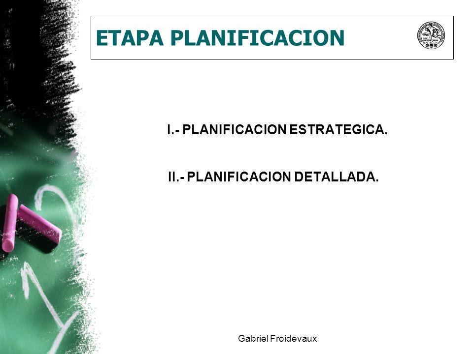 I.- PLANIFICACION ESTRATEGICA. II.- PLANIFICACION DETALLADA.