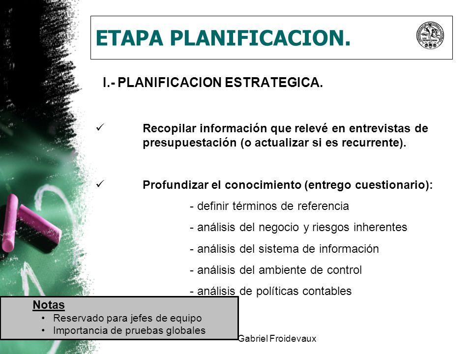 ETAPA PLANIFICACION. I.- PLANIFICACION ESTRATEGICA.