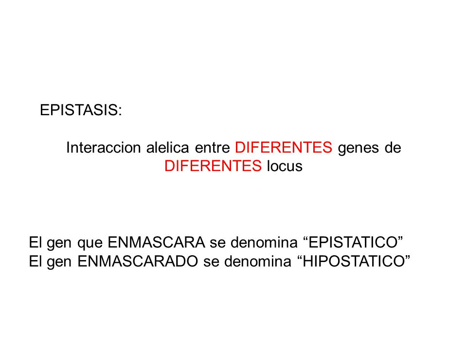 Interaccion alelica entre DIFERENTES genes de DIFERENTES locus