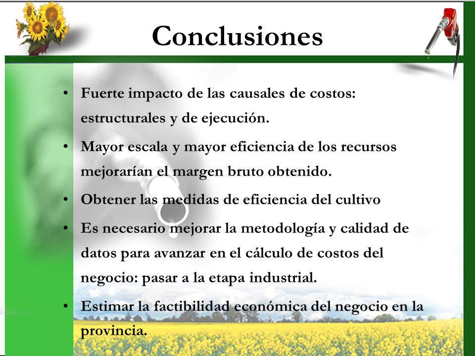 Conclusiones Fuerte impacto de las causales de costos: estructurales y de ejecución.
