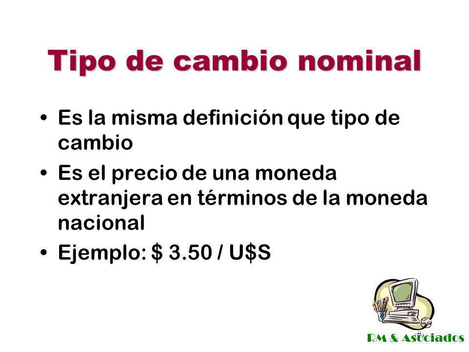 Tipo de cambio nominal Es la misma definición que tipo de cambio