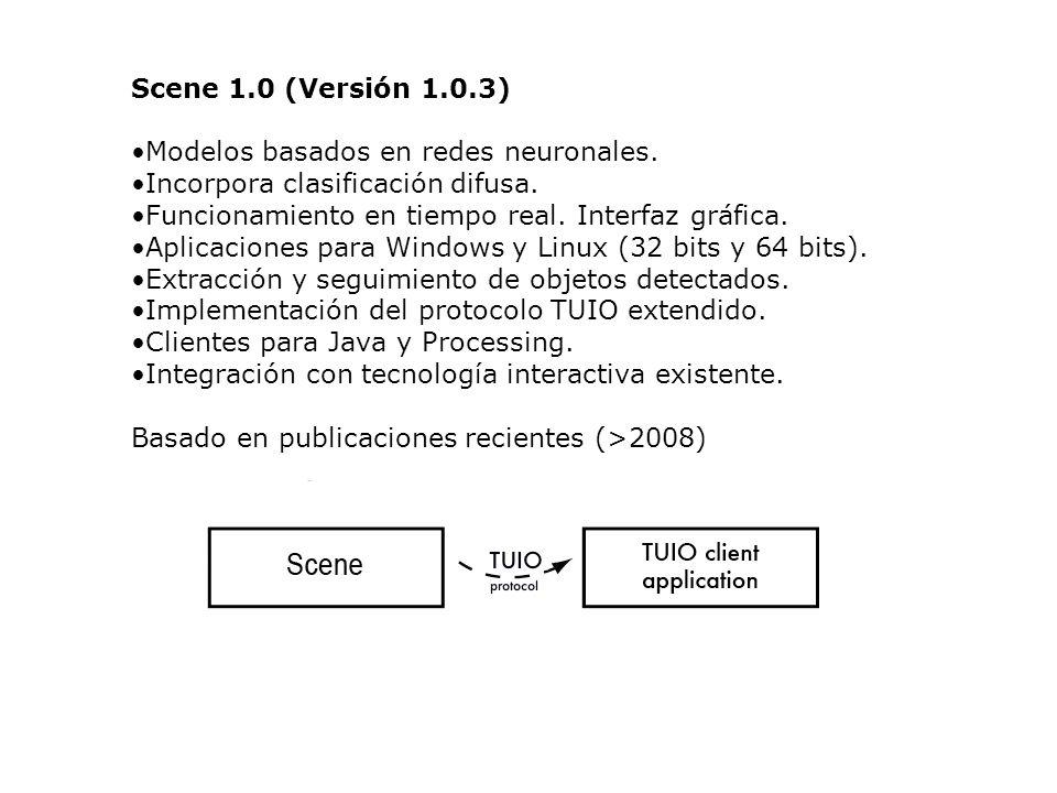 Scene 1.0 (Versión 1.0.3) Modelos basados en redes neuronales. Incorpora clasificación difusa. Funcionamiento en tiempo real. Interfaz gráfica.