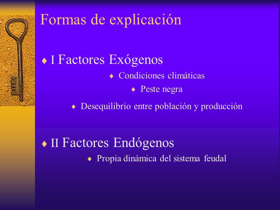 Formas de explicación I Factores Exógenos II Factores Endógenos