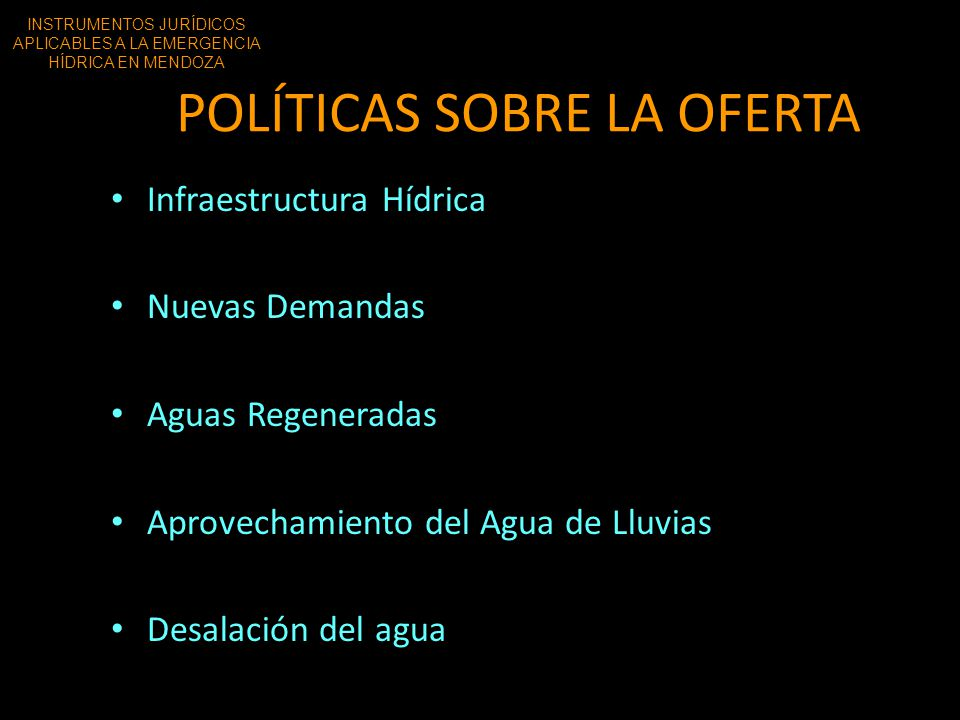 POLÍTICAS SOBRE LA OFERTA