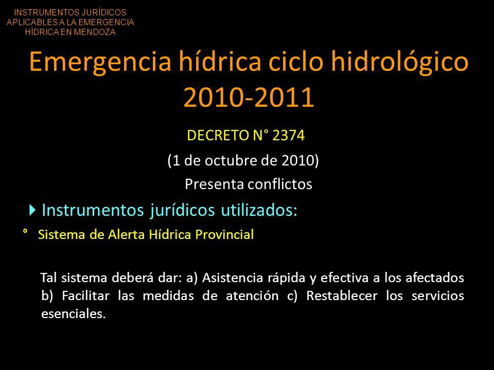 Emergencia hídrica ciclo hidrológico 2010-2011