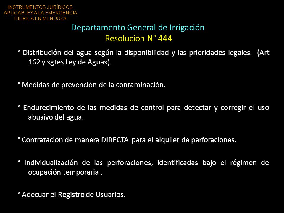 Departamento General de Irrigación Resolución N° 444