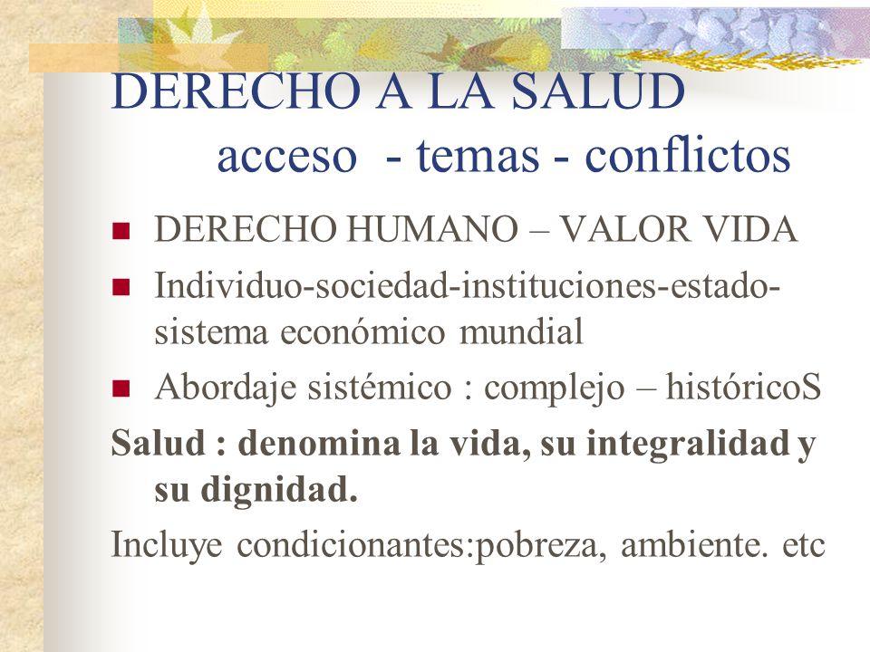 DERECHO A LA SALUD acceso - temas - conflictos