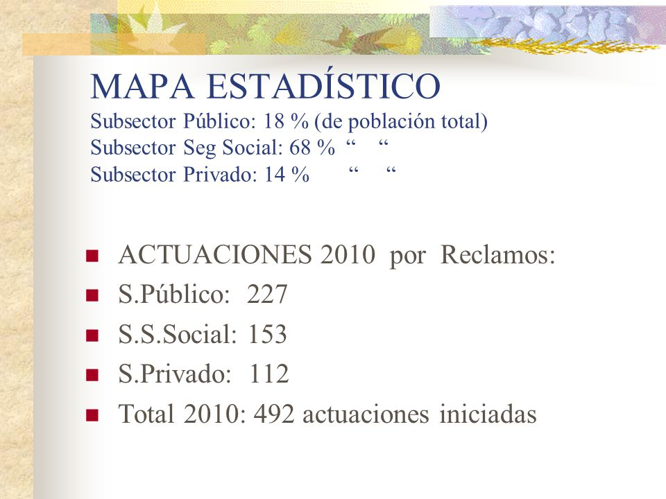 MAPA ESTADÍSTICO Subsector Público: 18 % (de población total) Subsector Seg Social: 68 % Subsector Privado: 14 %