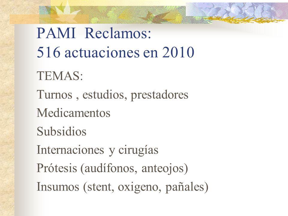 PAMI Reclamos: 516 actuaciones en 2010