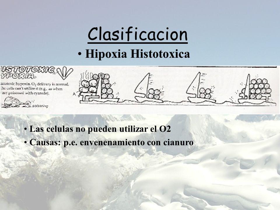 Clasificacion Hipoxia Histotoxica Las celulas no pueden utilizar el O2