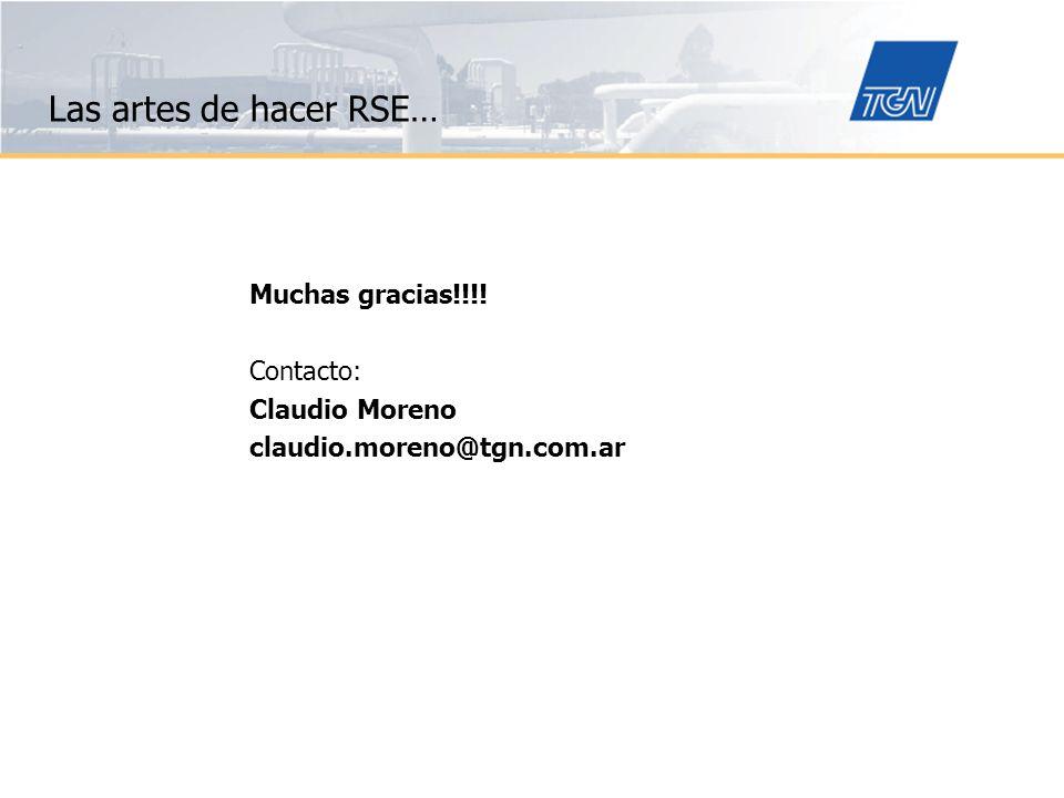 Las artes de hacer RSE… Muchas gracias!!!! Contacto: Claudio Moreno