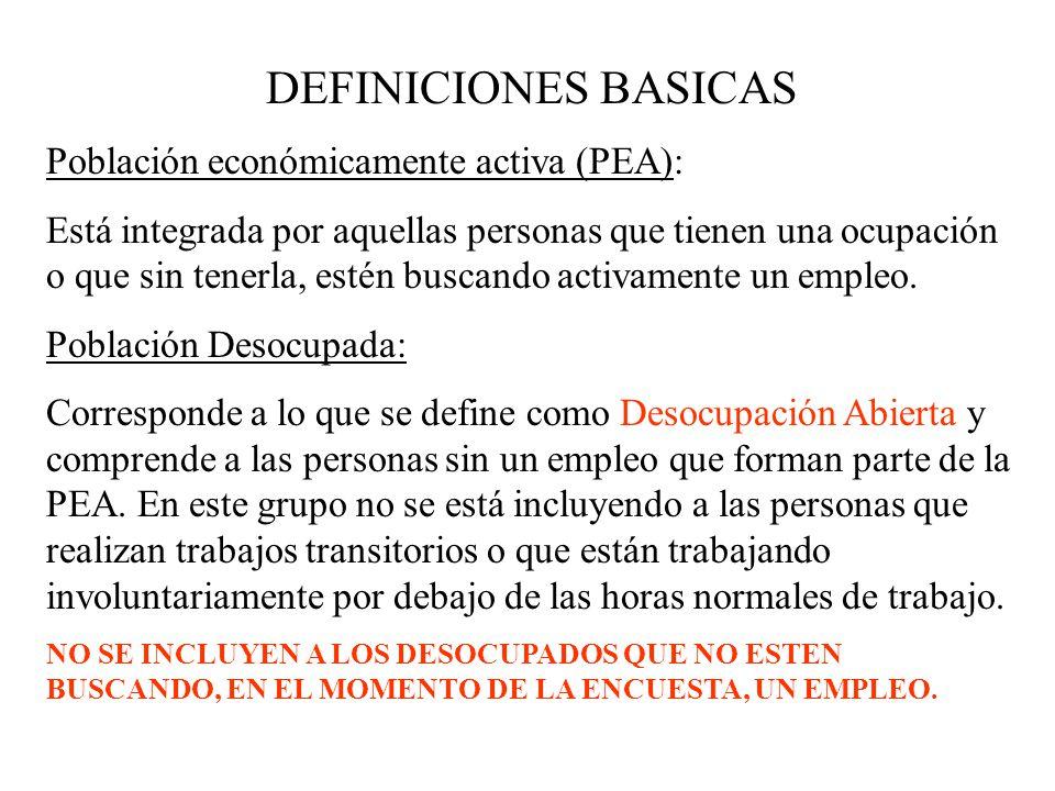DEFINICIONES BASICAS Población económicamente activa (PEA):