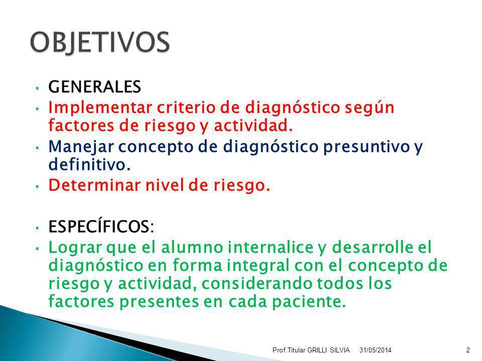 OBJETIVOS GENERALES. Implementar criterio de diagnóstico según factores de riesgo y actividad.