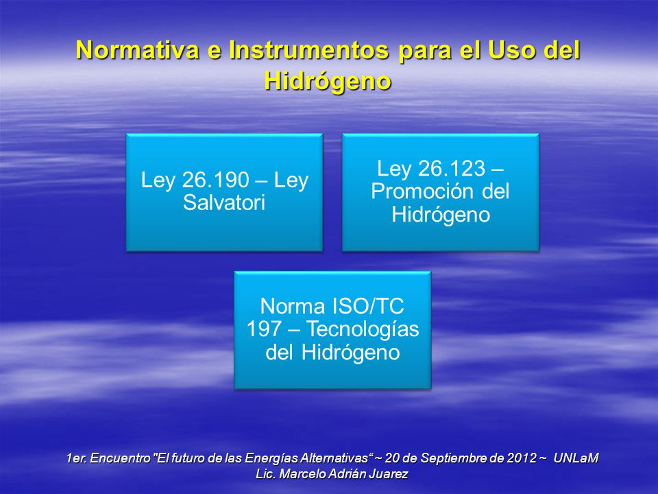 Normativa e Instrumentos para el Uso del Hidrógeno
