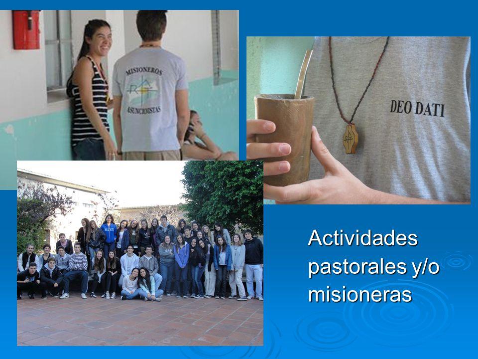 Actividades pastorales y/o misioneras