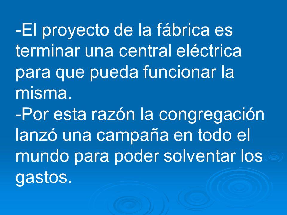-El proyecto de la fábrica es terminar una central eléctrica para que pueda funcionar la misma.