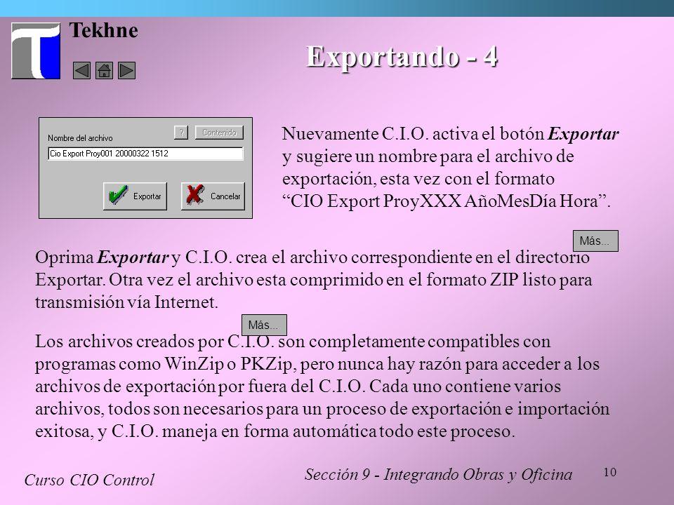 Tekhne Exportando - 4. Nuevamente C.I.O. activa el botón Exportar y sugiere un nombre para el archivo de exportación, esta vez con el formato.