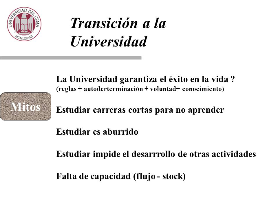 Transición a la Universidad Mitos