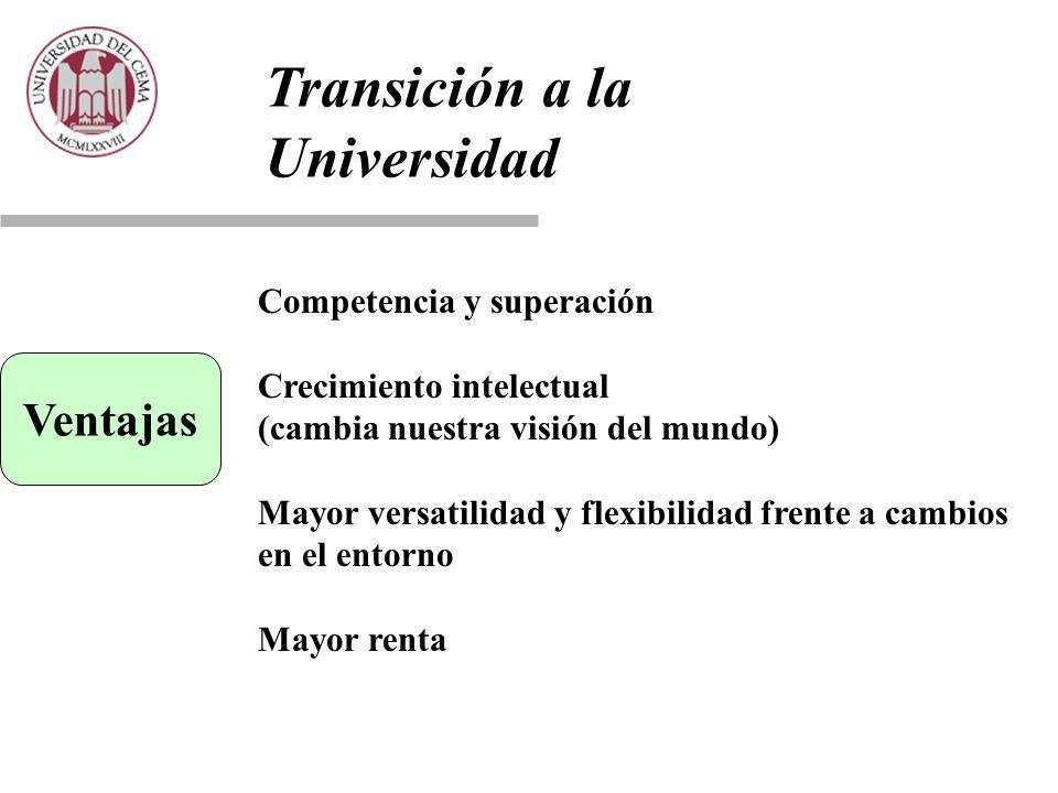 Transición a la Universidad Ventajas Competencia y superación