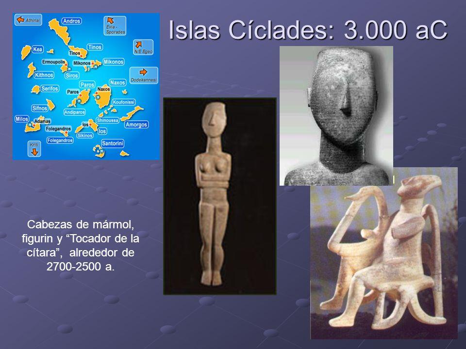 Islas Cíclades: 3.000 aC Cabezas de mármol, figurin y Tocador de la cítara , alrededor de 2700-2500 a.