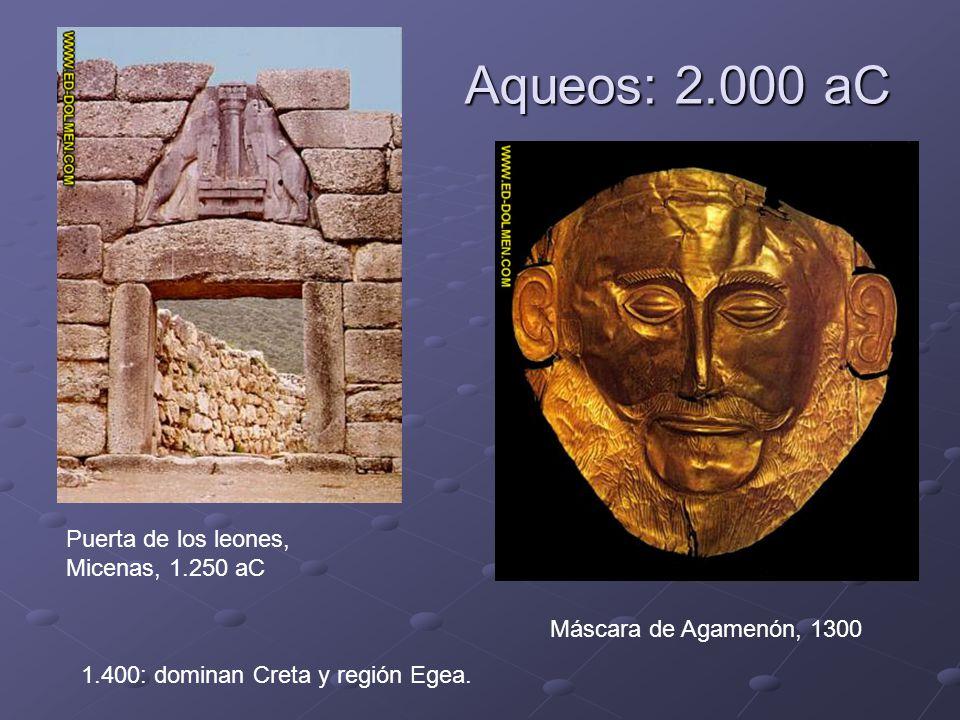 Aqueos: 2.000 aC Puerta de los leones, Micenas, 1.250 aC