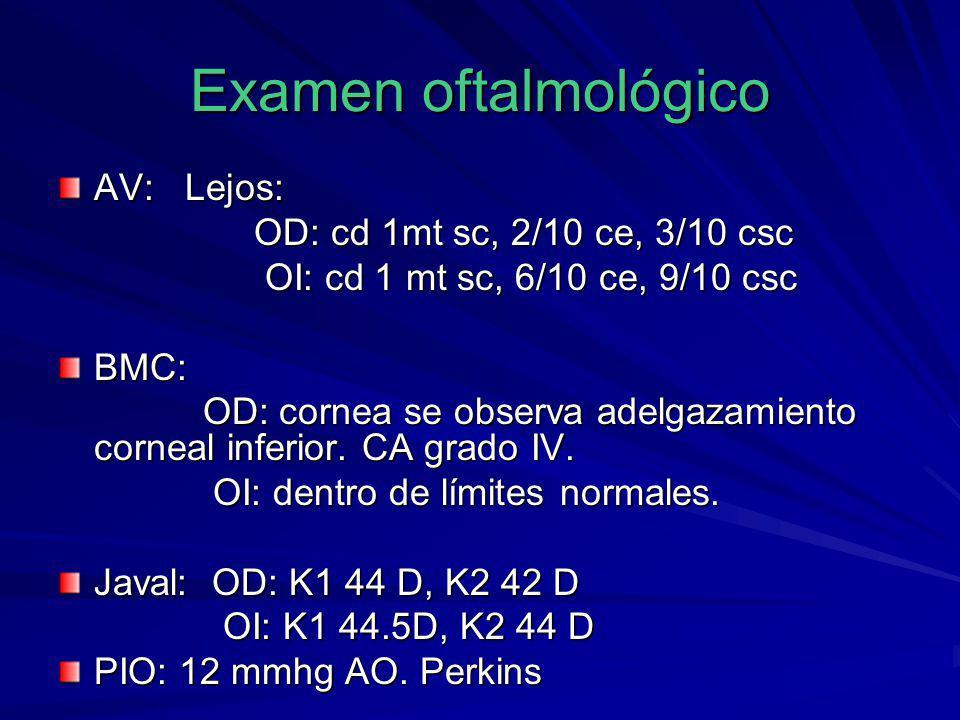 Examen oftalmológico AV: Lejos: OD: cd 1mt sc, 2/10 ce, 3/10 csc