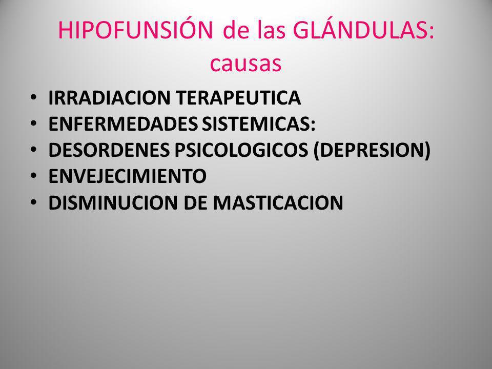 HIPOFUNSIÓN de las GLÁNDULAS: causas
