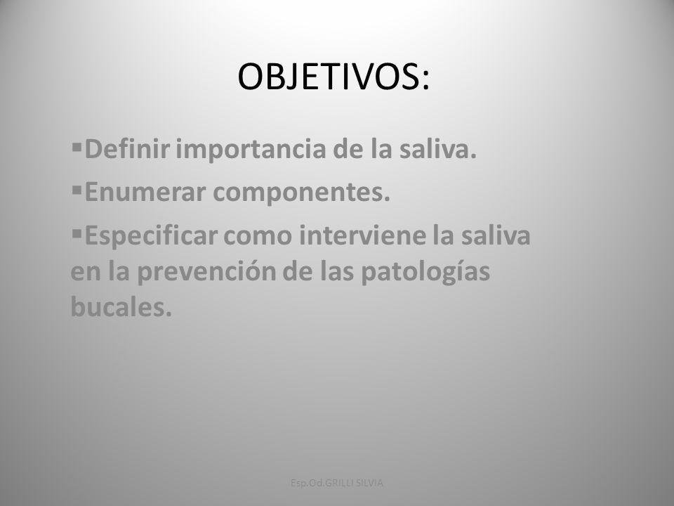 OBJETIVOS: Definir importancia de la saliva. Enumerar componentes.