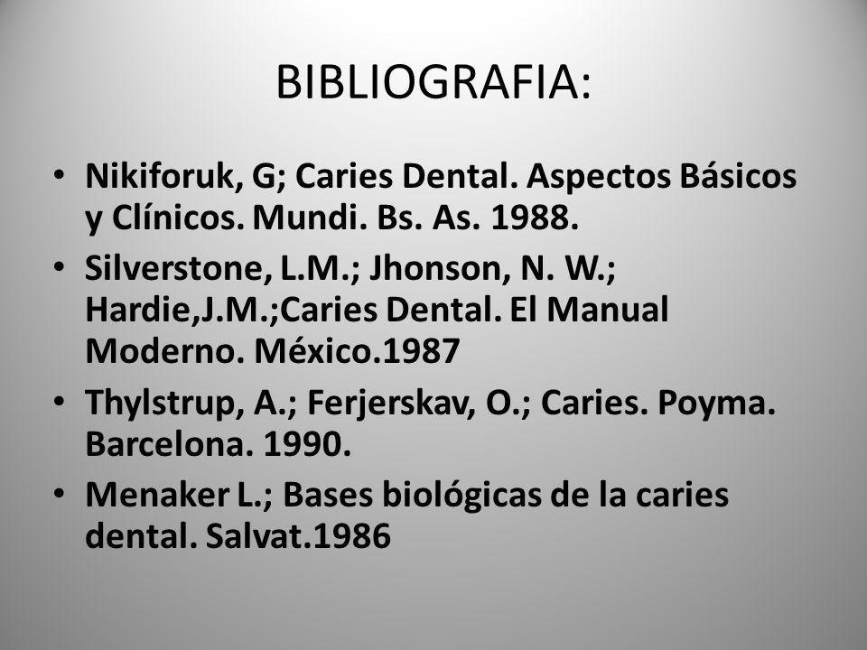BIBLIOGRAFIA: Nikiforuk, G; Caries Dental. Aspectos Básicos y Clínicos. Mundi. Bs. As. 1988.