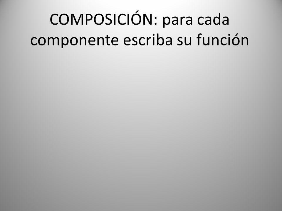 COMPOSICIÓN: para cada componente escriba su función