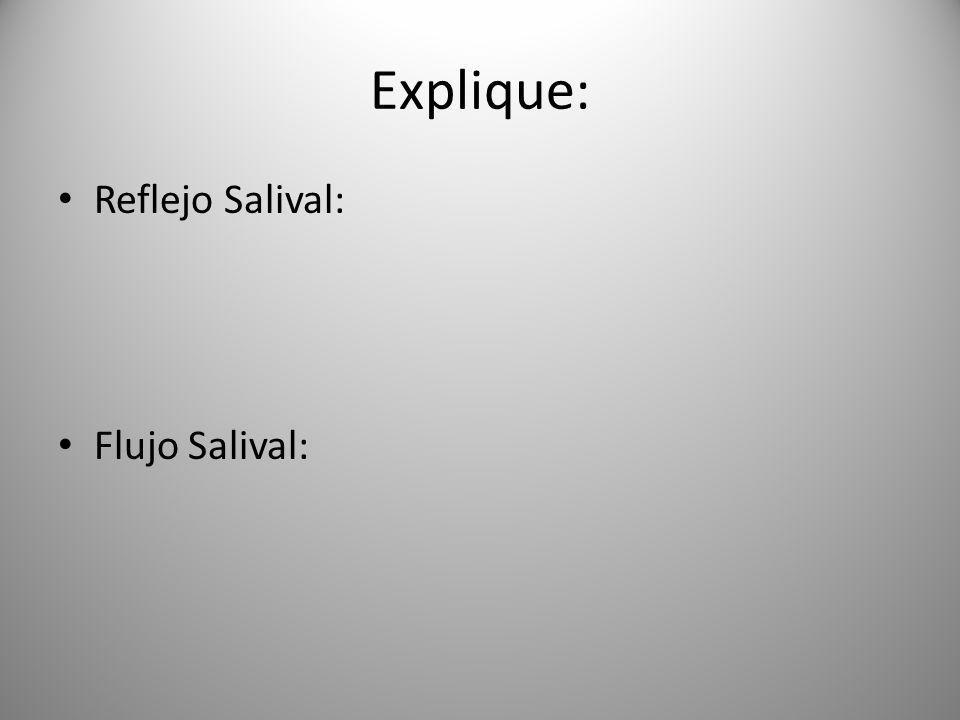 Explique: Reflejo Salival: Flujo Salival: