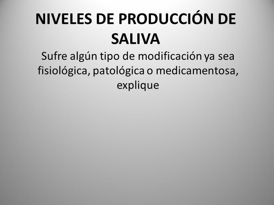 NIVELES DE PRODUCCIÓN DE SALIVA